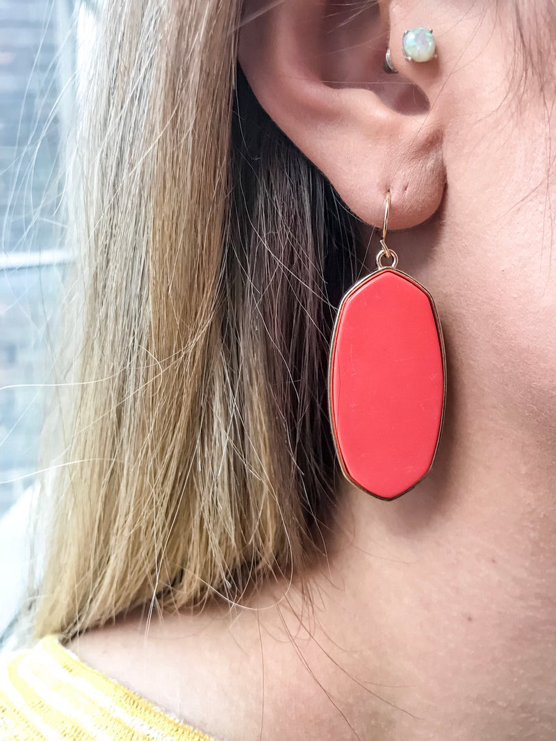 Spade Block Earrings -Coral