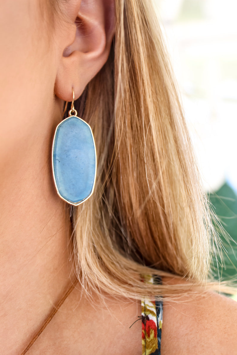 Spade Blue Stone Earrings