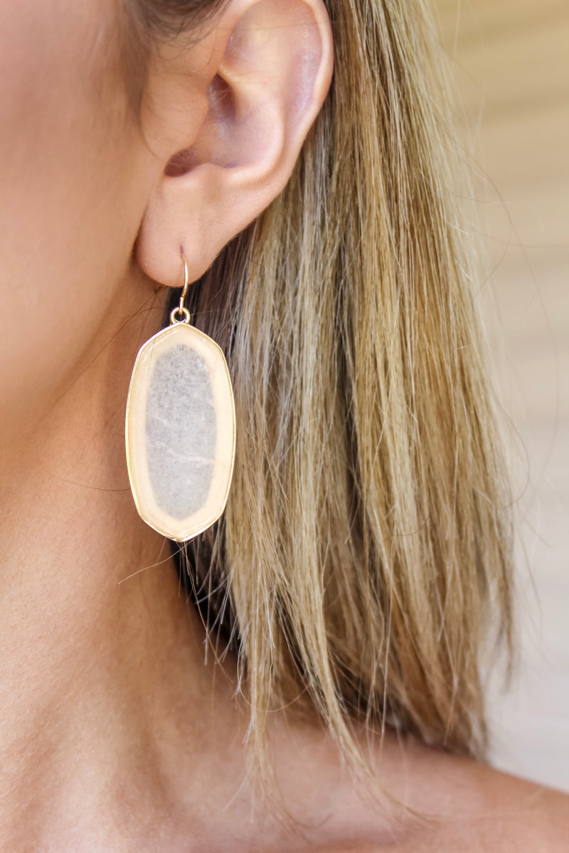 Spade Peach Stone Earrings