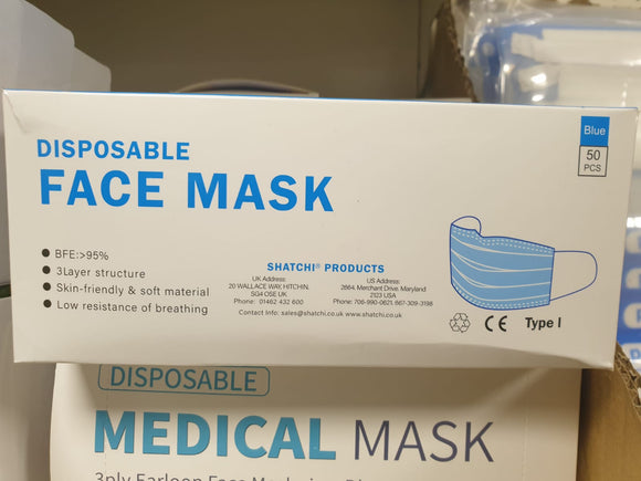 Single use Facemasks pack of 50