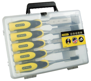 STANLEY® 5-PIECE DYNAGRIP™ WOOD CHISEL SET