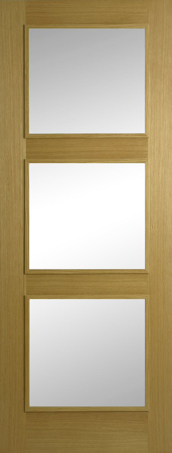 Contract Oak 3 Panel Clear Glass Varnished