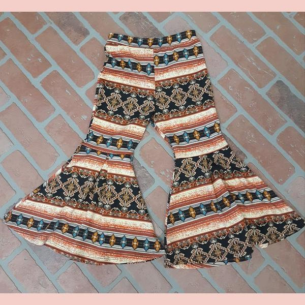 Tiffany Cagle Boutique Aztec Girls Flare Bell Bottoms-TCB