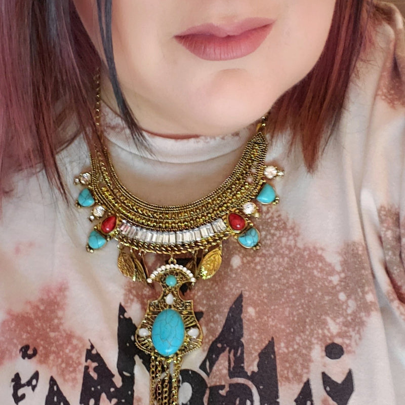 Red and Turquoise Stone Necklace-TCB