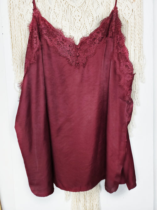 Lace Satin Cami Top - Black and Burgundy Available