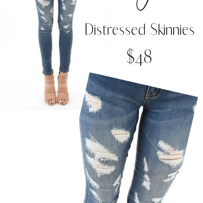 238 - Medium Wash Distressed Skinny Jeans-TCB
