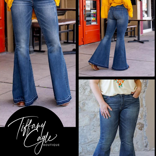 236 - High waisted Bell Bottoms Flare Raw Hem Medium Wash-TCB