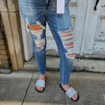 201 - High Rise Distressed Ankle Skinny Jeans-TCB