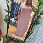 Rolled Sleeve Maxi Dress - 1x to 3x-TCB