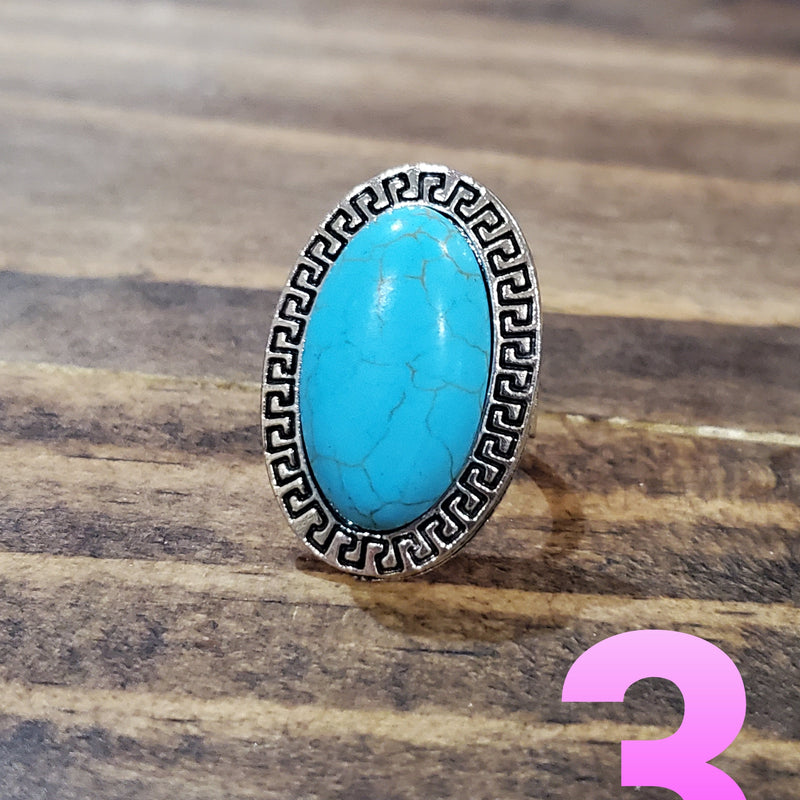 Silver Turquoise Adjustable Ring-TCB