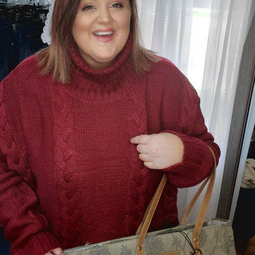 Burgundy Turtleneck Cable Knit Sweater - Small to 3x-TCB