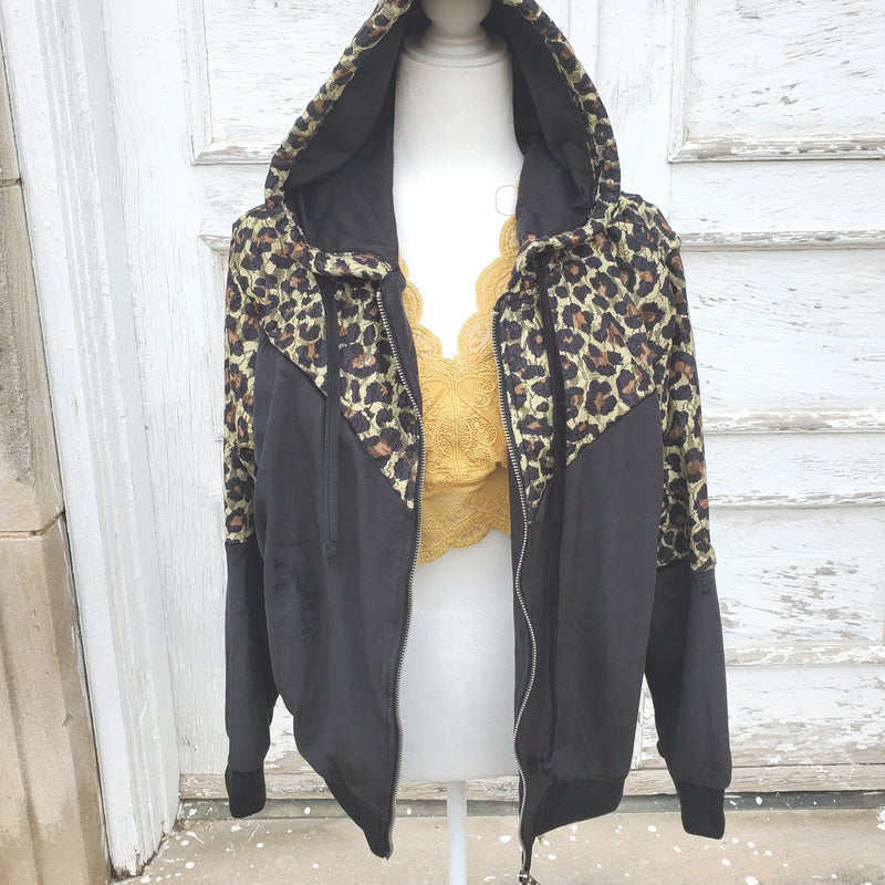 Black Velvet and Lace Leopard Jacket-TCB