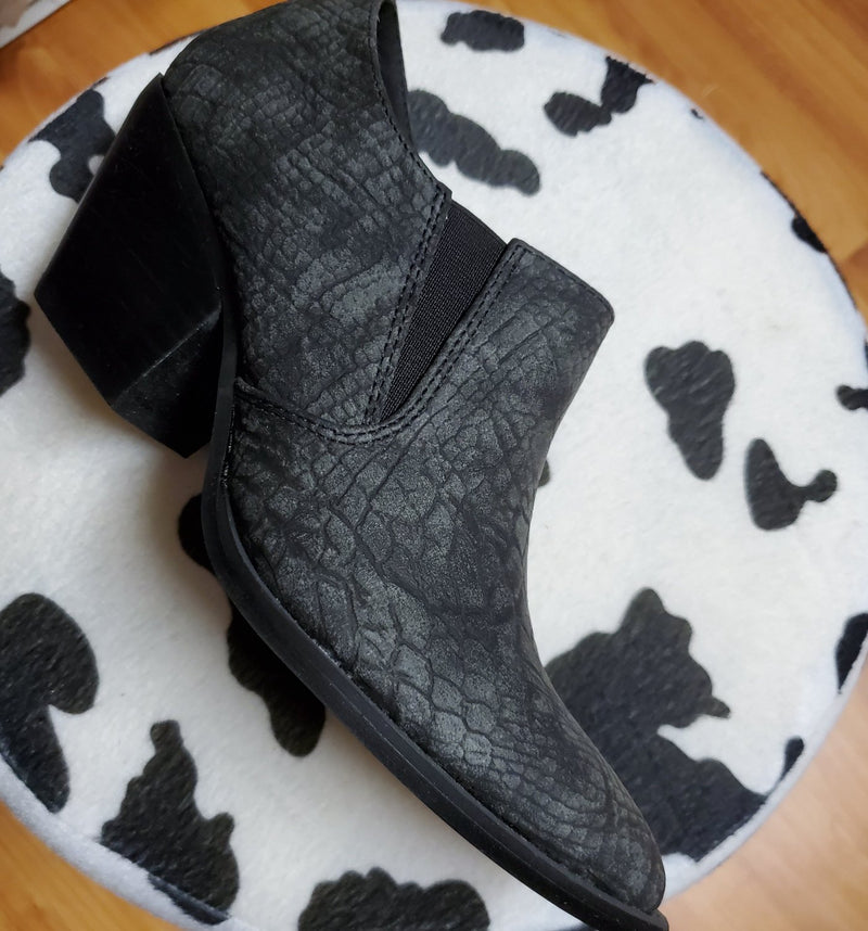 Witchy Woman Black Snakeskin Block Ankle Booties