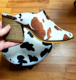 Ole Bessie Cow Print Pointed Toe Block Heel Mule