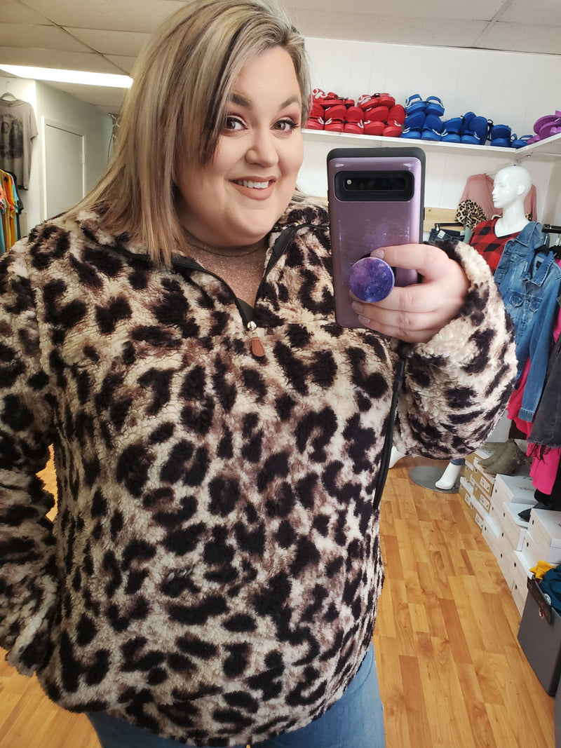 Sassy Leopard Sherpa Pullover - Small to 4x/5x