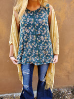 Teal Floral Sleeveless Blouse - Small to 3x