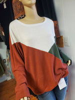 The Kelly - Brick and Green Colorblock Top - Small to 3x