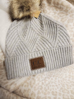 C.C. Diagonal Striped Knit Pom Pom Beanie