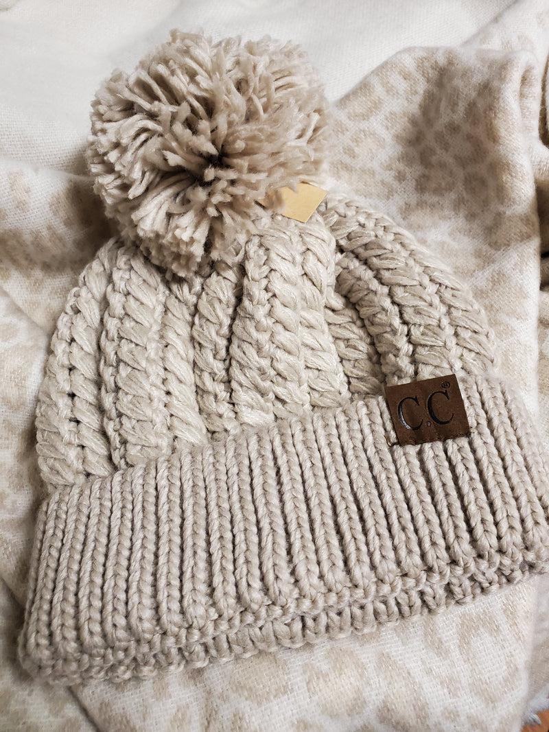 C.C. Taupe Twisted Mock Cable Beanie with Pom Pom