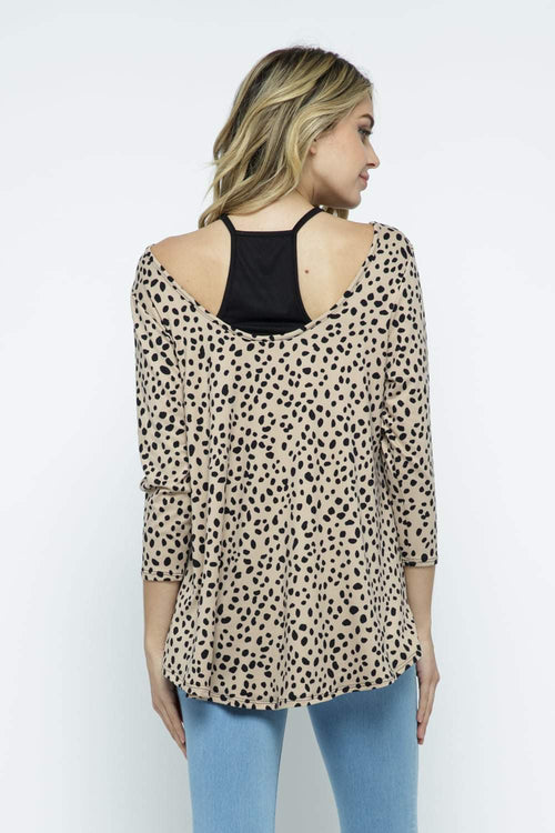 Camel Spotted Dalmation Twofer Top - Small to 3x