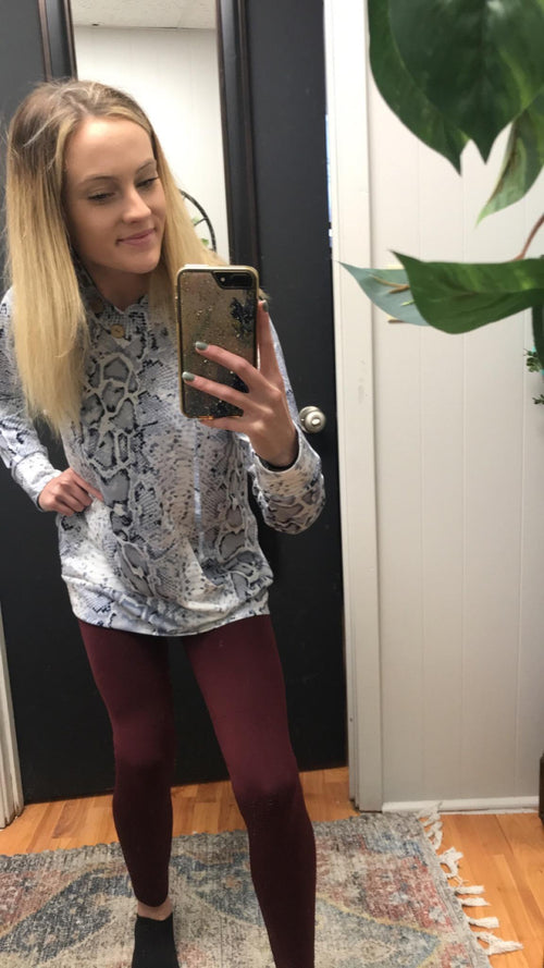 Burgundy Fleece Leggings - Small to XL