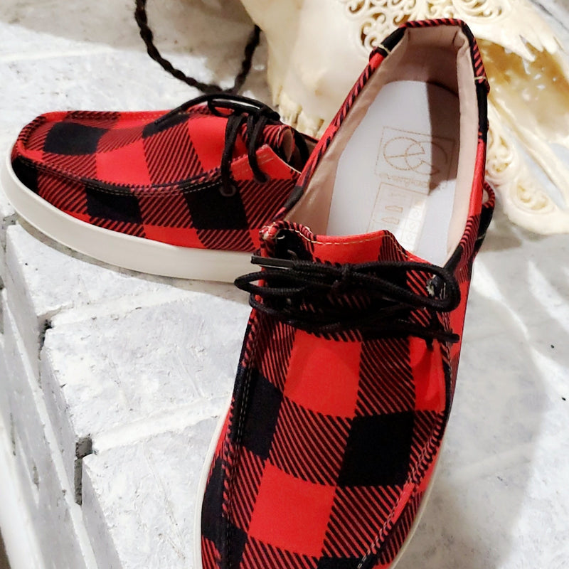 Red Buffalo Plaid Shoes-TCB