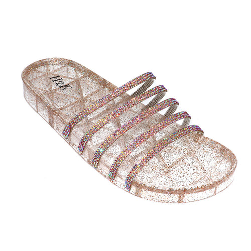 171 Jelly Rose Gold Glitter Slip on Sandals with Rhinestone Strap - Size 7 to 11-TCB