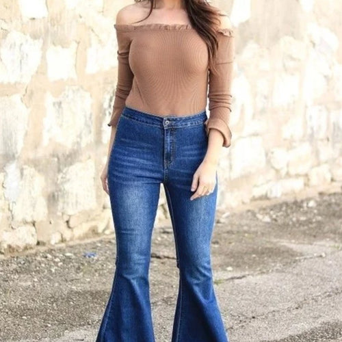 239 - Extreme Flare Jeans -Medium Blue Denim Bell Bottoms - Size 4 to 20-TCB