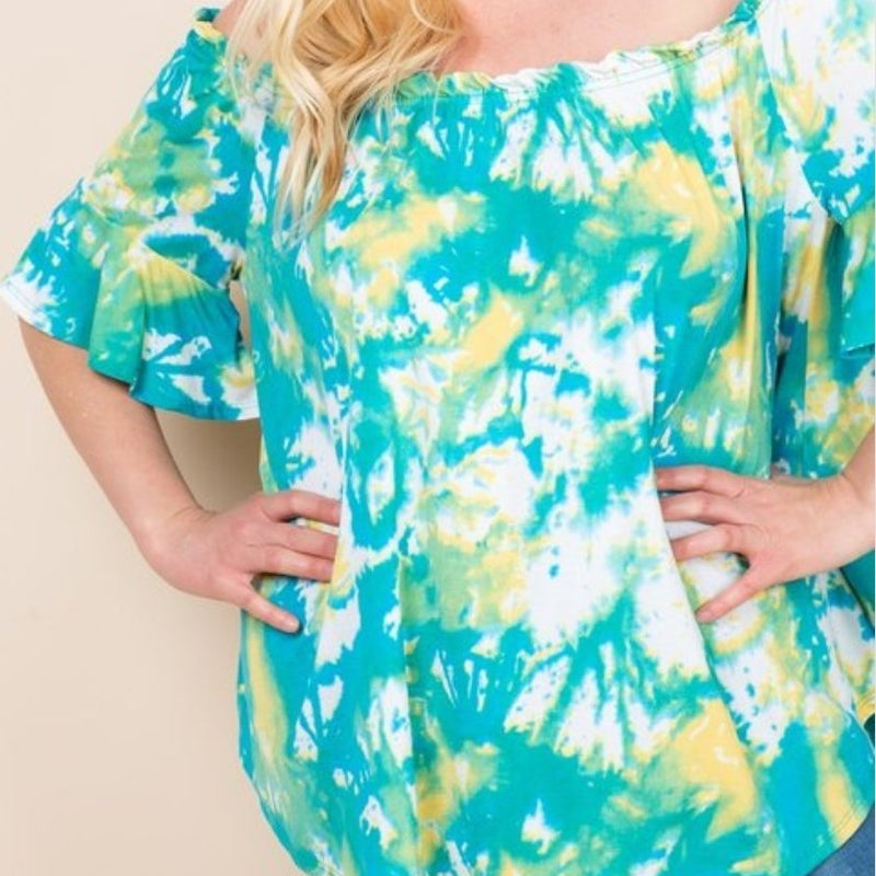 425-Green and Yellow Tie Dye Off Shoulder Top-TCB