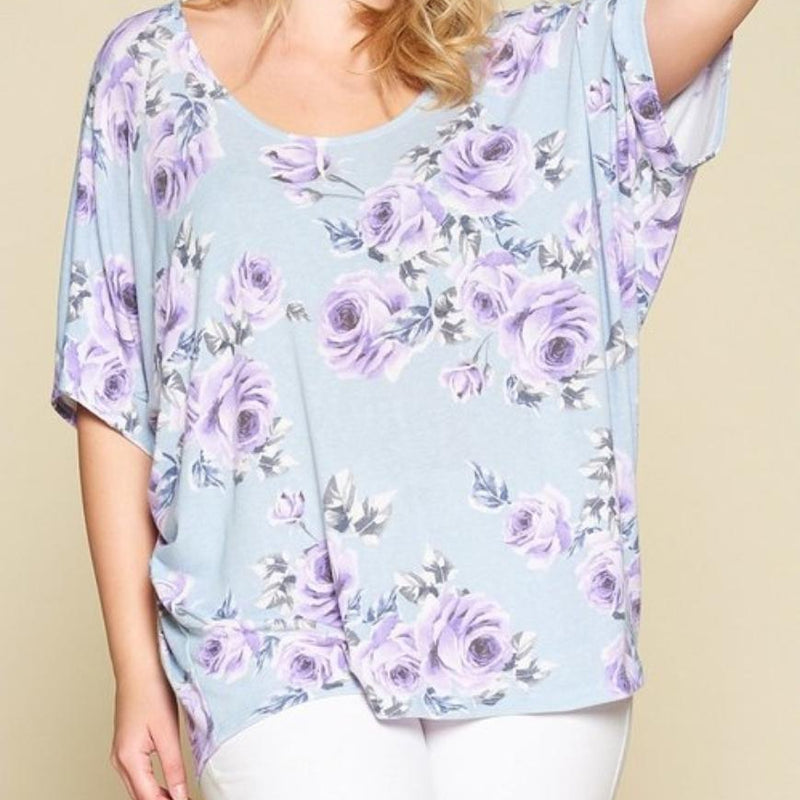 426-Baby Blue Floral Dolman Sleeve Top-TCB