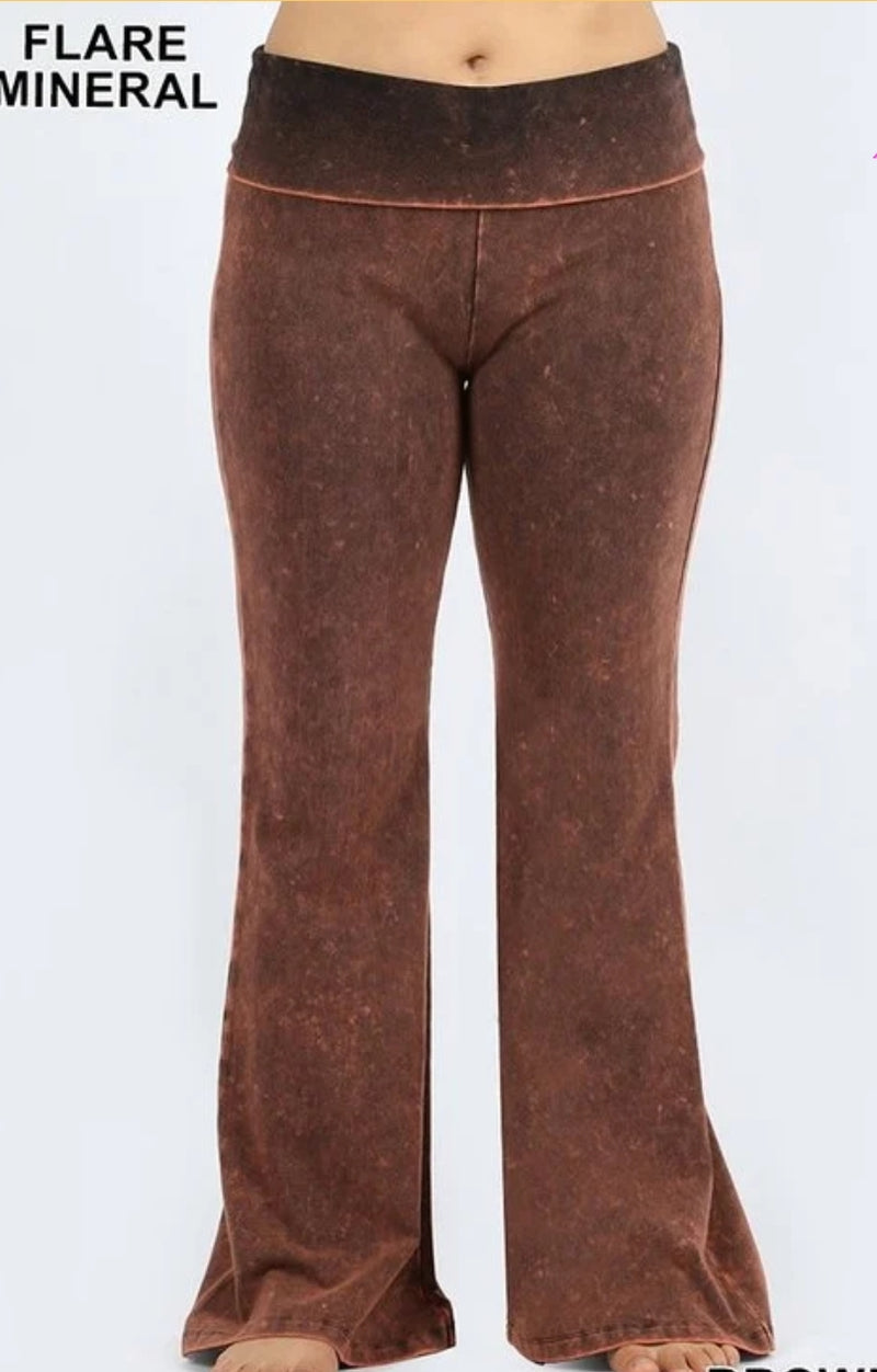 Brown Mineral Washed Bell Bottom Athletic Pants - 1XL - 3XL