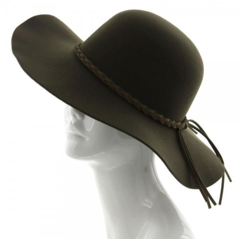 Wide Brim Floppy Hat With Braided Band Detail