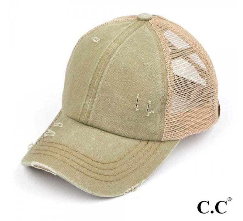 Olive Distressed Criss Cross Pony Cap - CC Brand
