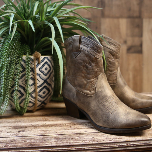 720 Distressed Taupe Boots with side zip-TCB
