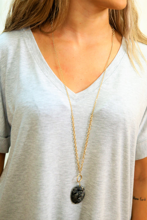 Gold black quartz necklace