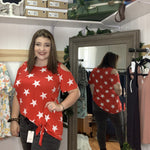 409-Red with white stars, off shoulder plus size blouse