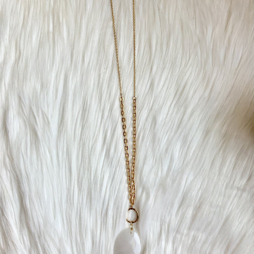 Gold White quartz necklace-TCB