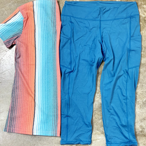 Teal Cropped Athletic Pants with side pocket-TCB