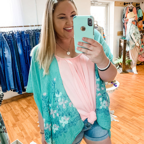 326 - Mint Kimono with Hand Stitched Florals-TCB