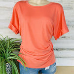516 Rolled Short Sleeve Crew Neck Top - Small to XL-TCB