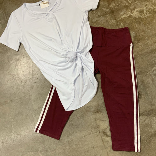 Final Sale - Maroon and White Athletic Pants-TCB