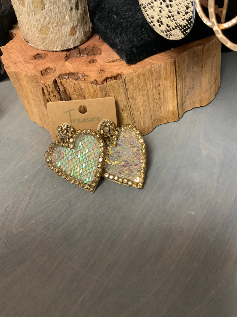 904 - Rhinestone Sequin Heart Earrings