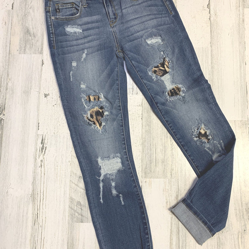 233 - Judy Blue Leopard Patch Denim-TCB