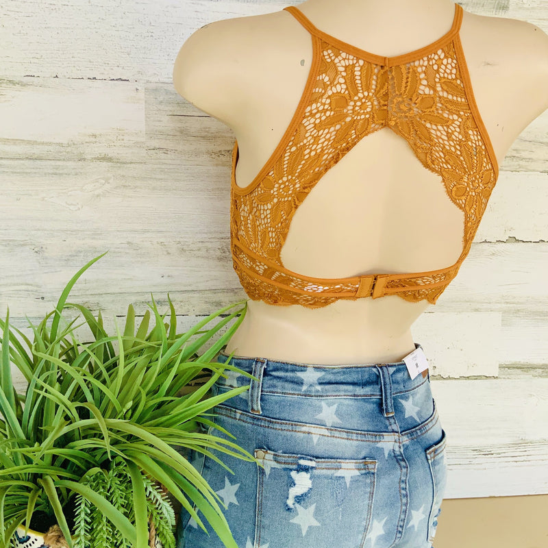 152 - High Neck Keyhole Lace Bralette - Small to XL-TCB