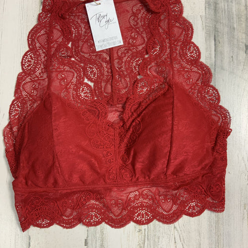 701 - Dark Red Lace Bralette-TCB