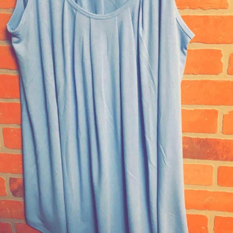 416-Pleated Flowy Tank -Plus - 1x - 3x-TCB