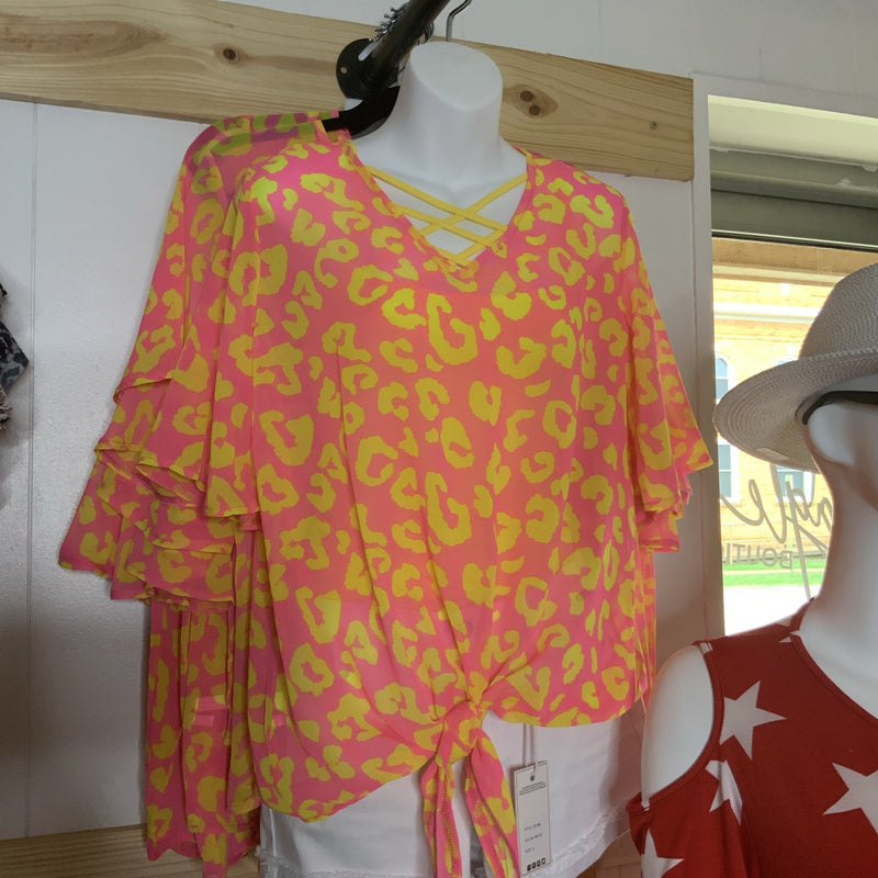 427 - Pink and Yellow Leopard Printed Blouse w/ Front Tie