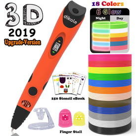 3D Printing Pen With PLA 18 Colors Filament Refills for Kids Adults Arts Crafts Model DIY, Non-Clogging