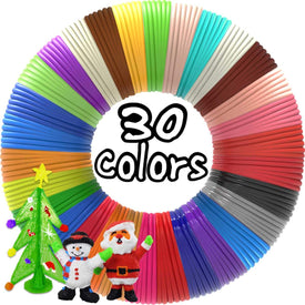 3D Pen Filament Refills 30 Colors, Bonus 250 Stencils eBooks 3D Pen Filament 1.75mm PLA for Tecboss Levin Nulaxy 7TECH BeTIM etc