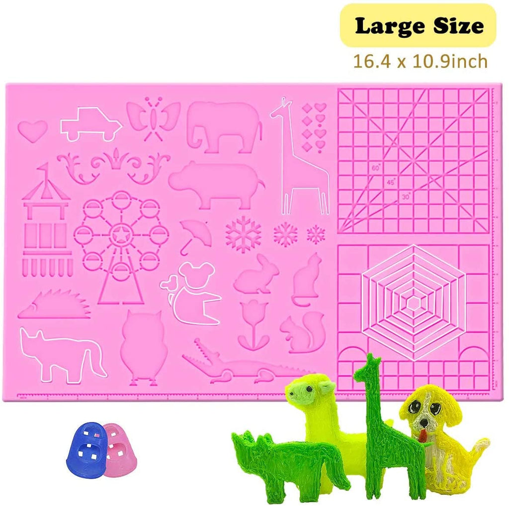 3D Pen Mat large size, Upgraded 3D Printing Pen Silicone Design Mat with basic and animal patterns,  3D Pens Drawing Tools for kids and 3D pen artists